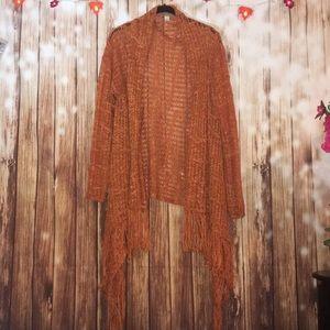 Orange Open Weave Fringed Cardigan